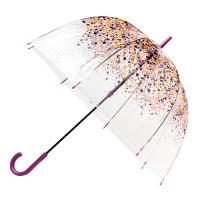 Женский прозрачный зонт-трость Fulton Birdcage-2 L042 Hippie Scatter (Разноцветные незабудки)