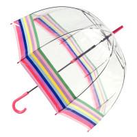 Женский прозрачный зонт-трость Fulton Birdcage-2 L042 - Colour Burst Stripe (Цветные полосы)