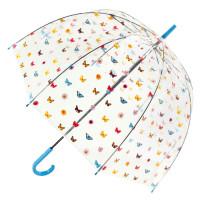 Женский прозрачный зонт-трость Fulton Birdcage-2 L042 - English Garden (Английский сад)