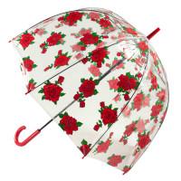 Женский прозрачный зонт-трость Fulton Birdcage-2 L042 - Tattoo Rose (Тату из роз)