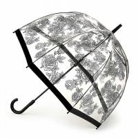 Женский зонт-трость прозрачный Fulton Birdcage-2 L042 - Black Rose (Черная роза)