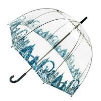 Женский зонт-трость прозрачный Fulton Birdcage-2 L042 London Icons (Иконки)
