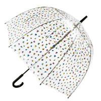 Женский зонт-трость прозрачный Fulton Birdcage-2 L042 - Candy Leopard (Конфетный леопард)