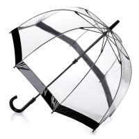 Женский зонт-трость прозрачный Fulton Birdcage-1 L041 - Black (Черный)