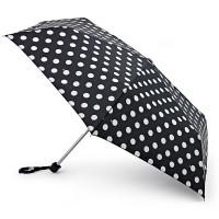 Женский зонт Fulton Miniflat-2 L340 - White Spot (Белый горох)