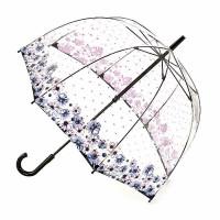 Женский зонт-трость прозрачный Fulton Birdcage-2 L042 - Flower Love (Любовный цветок)