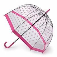 Женский зонт-трость прозрачный Fulton Birdcage-2 L042 - Pink Polka (Розовые кружочки)